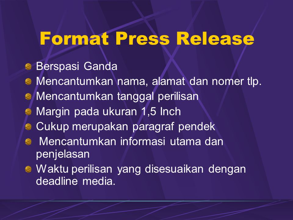 Format Press Release Berspasi Ganda