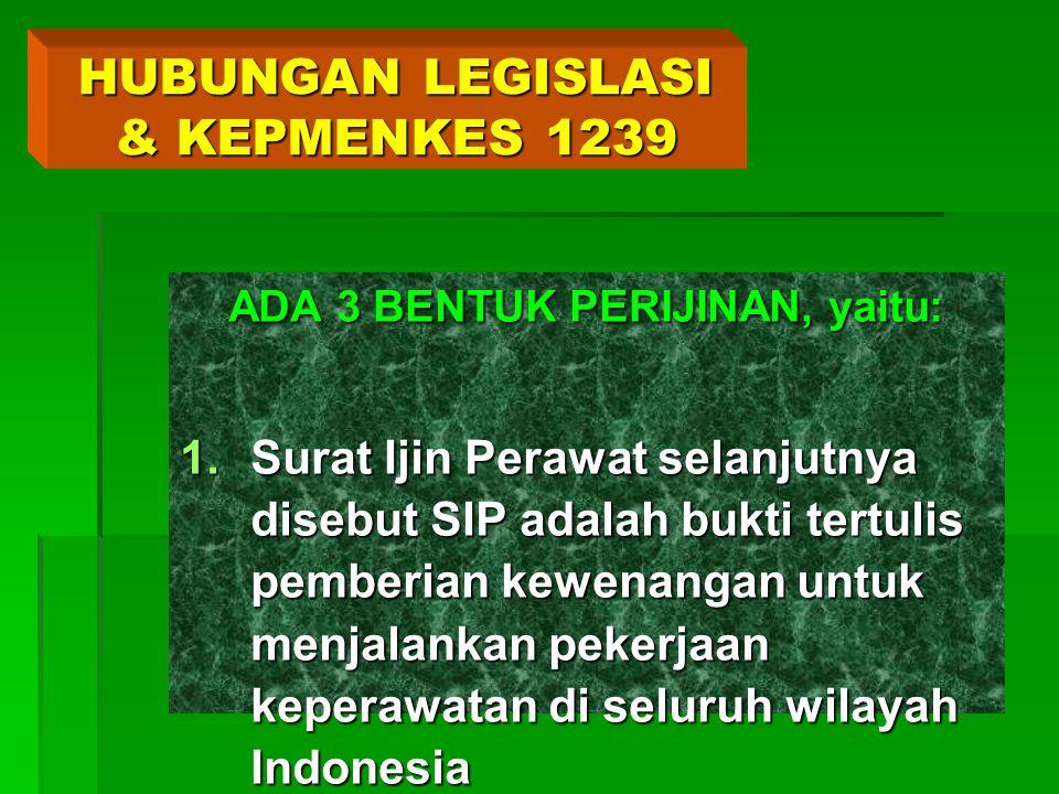 HUBUNGAN LEGISLASI & KEPMENKES 1239