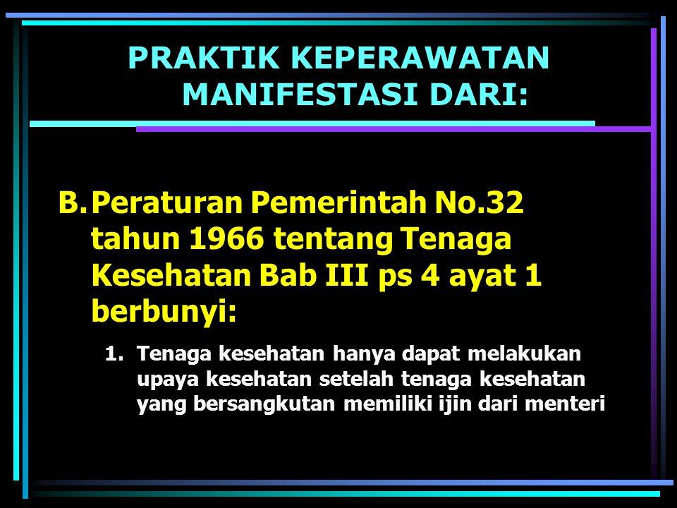 PRAKTIK KEPERAWATAN MANIFESTASI DARI: