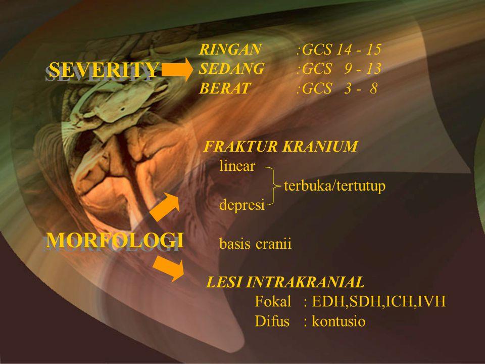 SEVERITY MORFOLOGI RINGAN :GCS 14 - 15 SEDANG :GCS 9 - 13