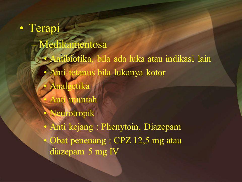 Terapi Medikamentosa Antibiotika, bila ada luka atau indikasi lain