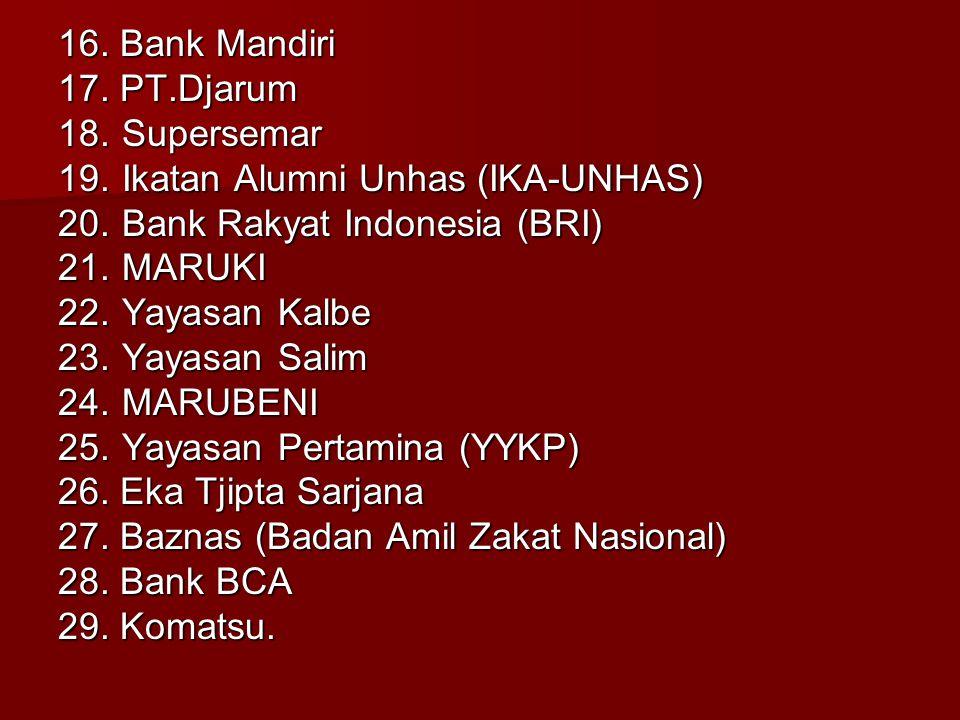 16. Bank Mandiri 17. PT.Djarum. 18. Supersemar. 19. Ikatan Alumni Unhas (IKA-UNHAS) 20. Bank Rakyat Indonesia (BRI)