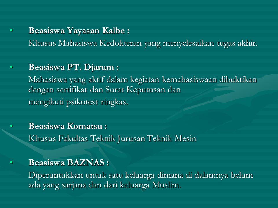 Beasiswa Yayasan Kalbe :