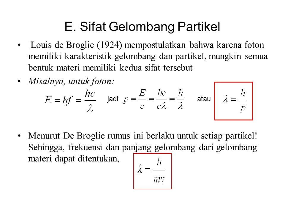 E. Sifat Gelombang Partikel