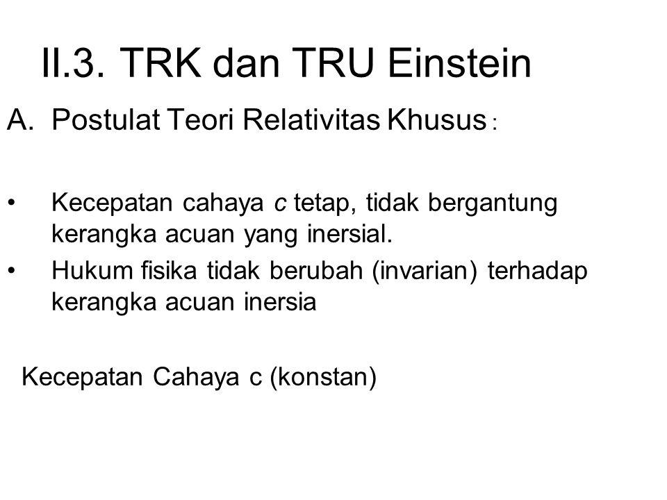 II.3. TRK dan TRU Einstein Postulat Teori Relativitas Khusus :