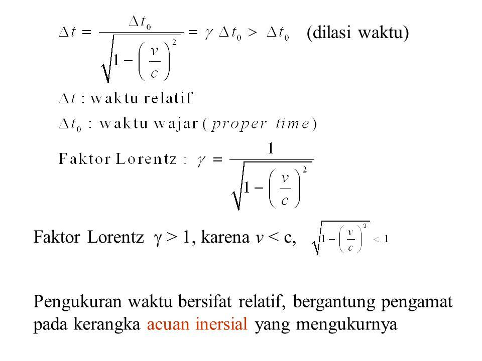 (dilasi waktu) Faktor Lorentz  > 1, karena v < c,