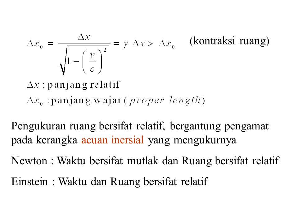 (kontraksi ruang) Pengukuran ruang bersifat relatif, bergantung pengamat pada kerangka acuan inersial yang mengukurnya.