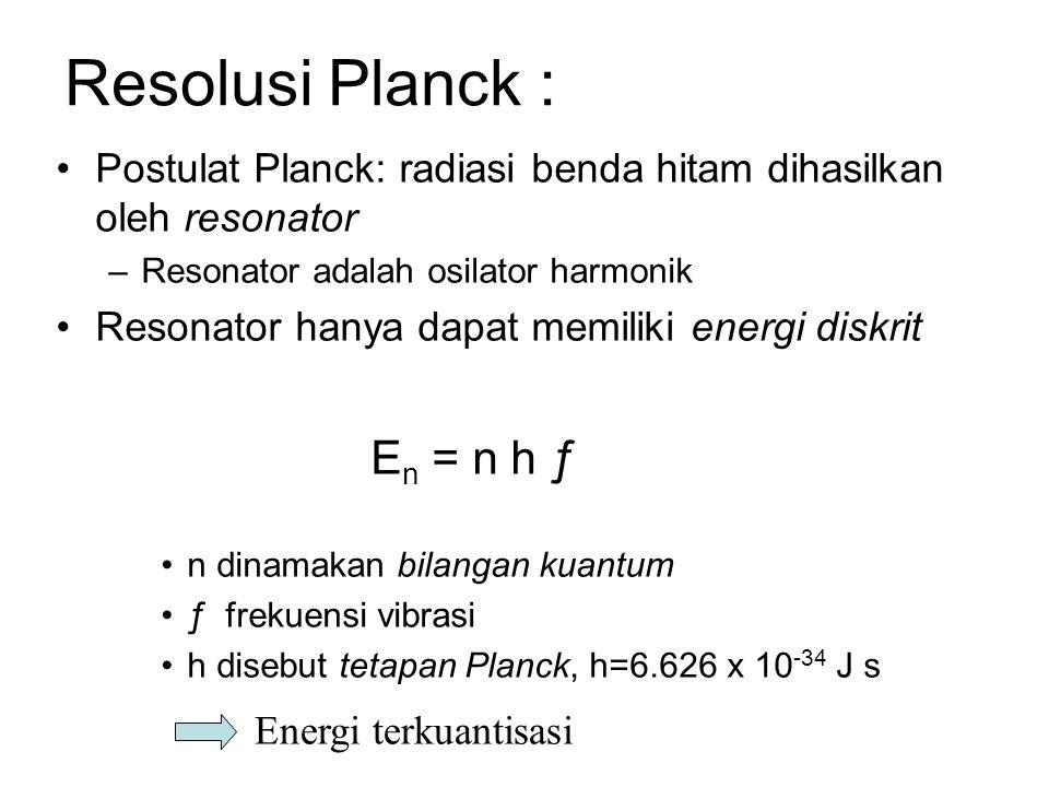 Resolusi Planck : En = n h ƒ