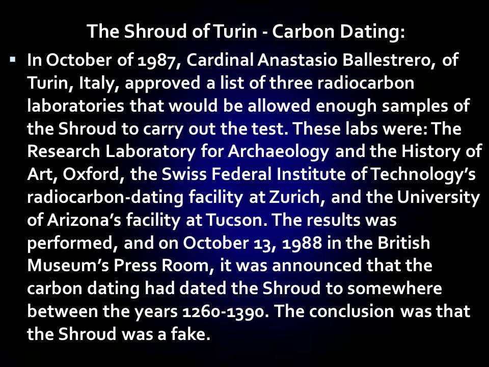 The Shroud of Turin - Carbon Dating: