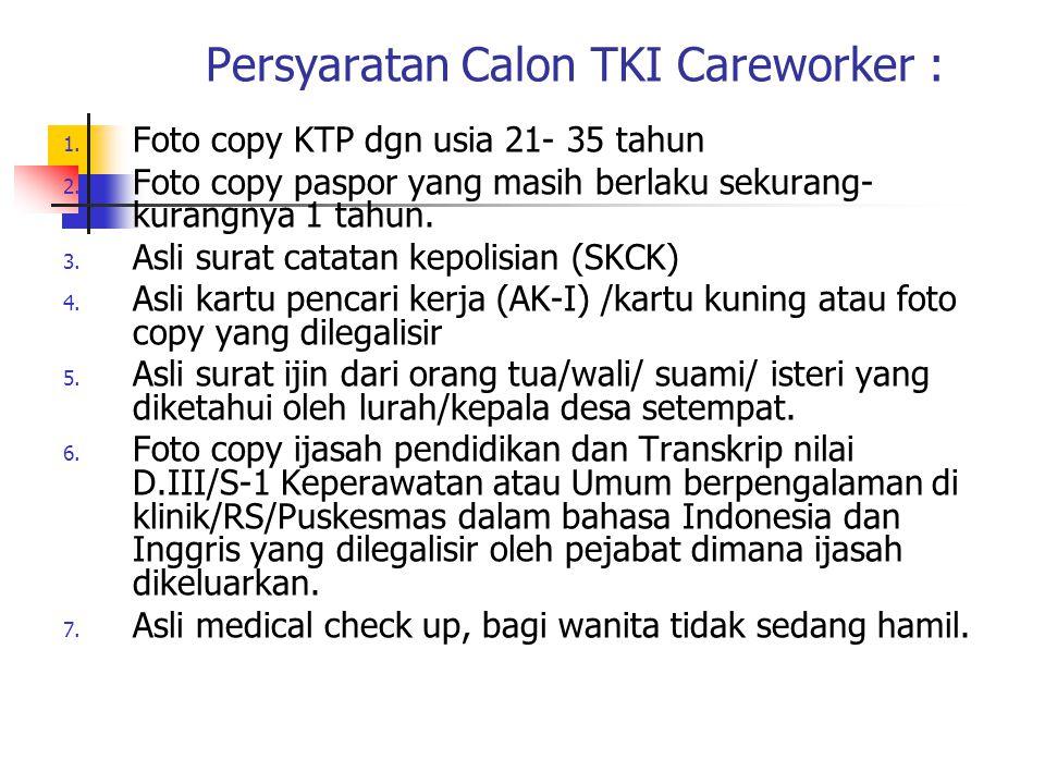 Persyaratan Calon TKI Careworker :