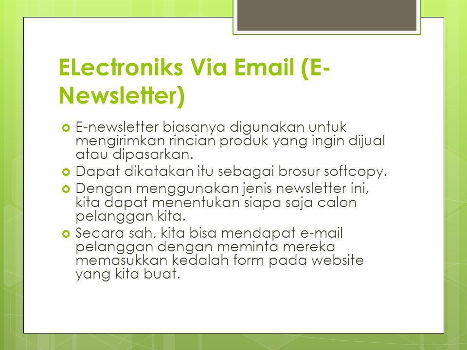 ELectroniks Via Email (E-Newsletter)