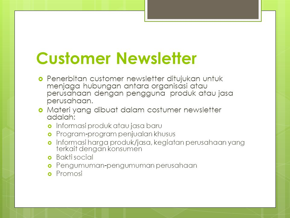 Customer Newsletter