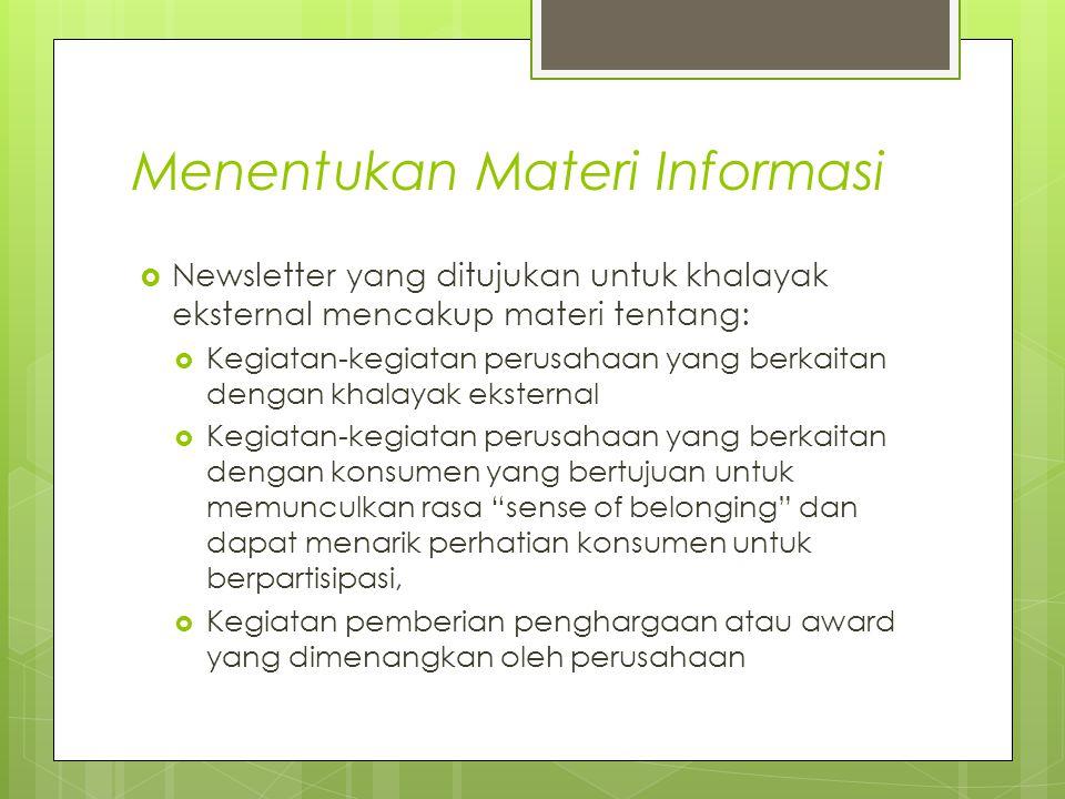 Menentukan Materi Informasi