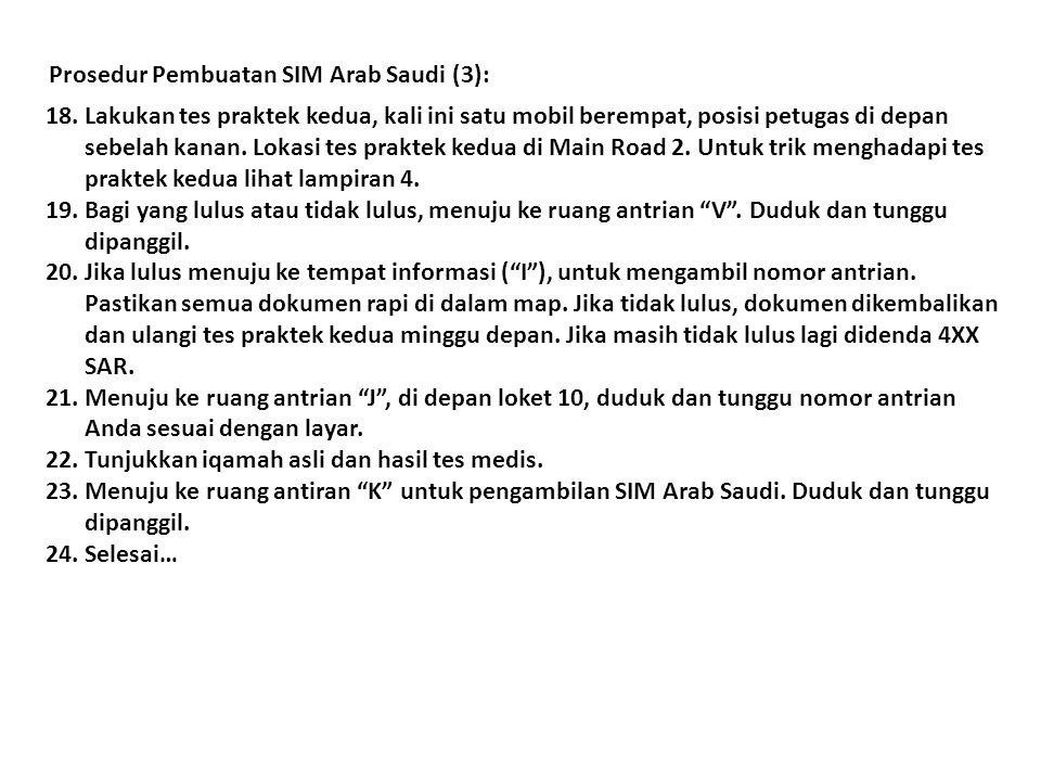 Prosedur Pembuatan SIM Arab Saudi (3):