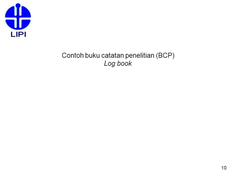Contoh buku catatan penelitian (BCP)