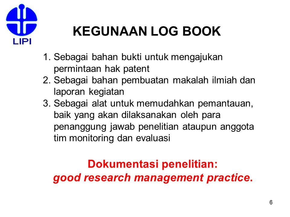 Dokumentasi penelitian: good research management practice.