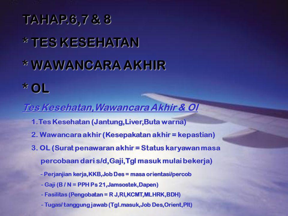 TAHAP.6,7 & 8 * TES KESEHATAN * WAWANCARA AKHIR * OL