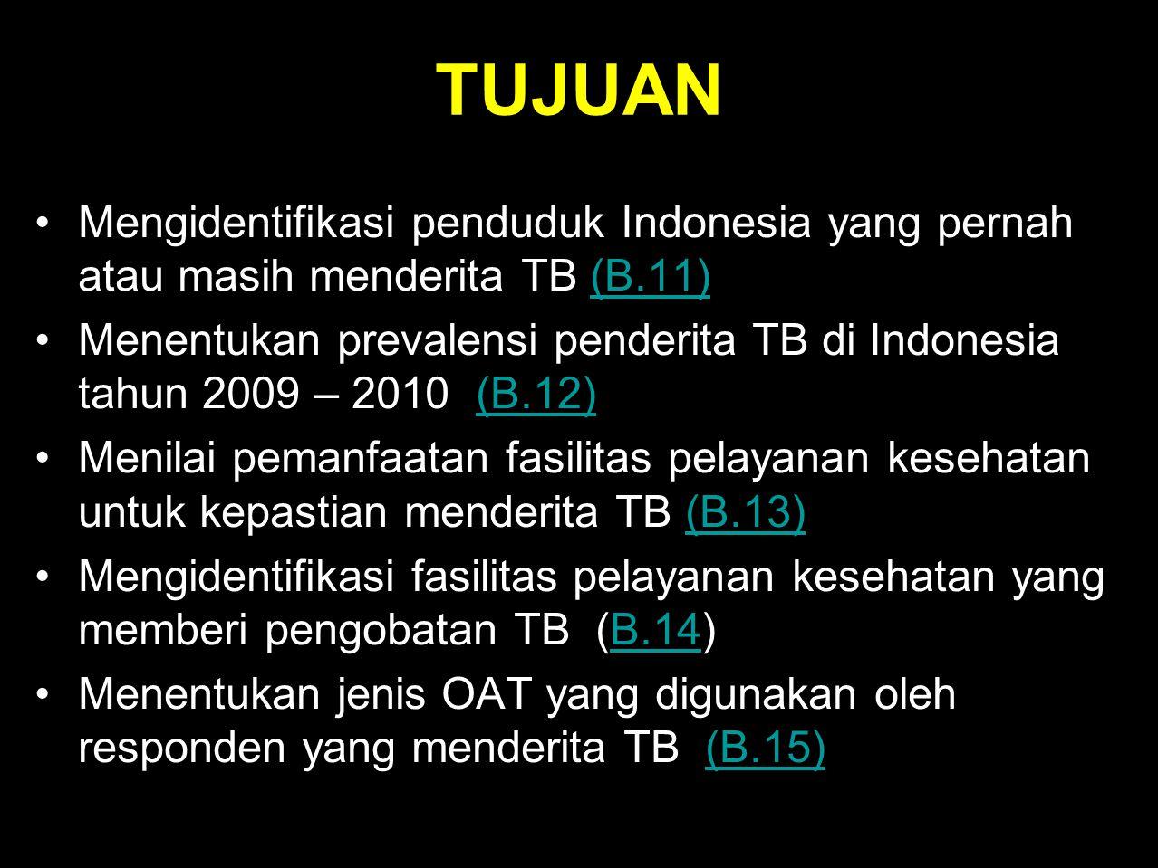 TUJUAN Mengidentifikasi penduduk Indonesia yang pernah atau masih menderita TB (B.11)