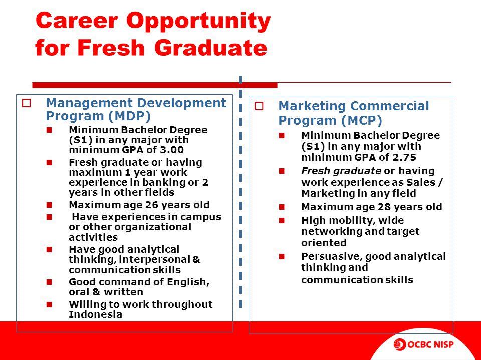 Career Opportunity for Fresh Graduate