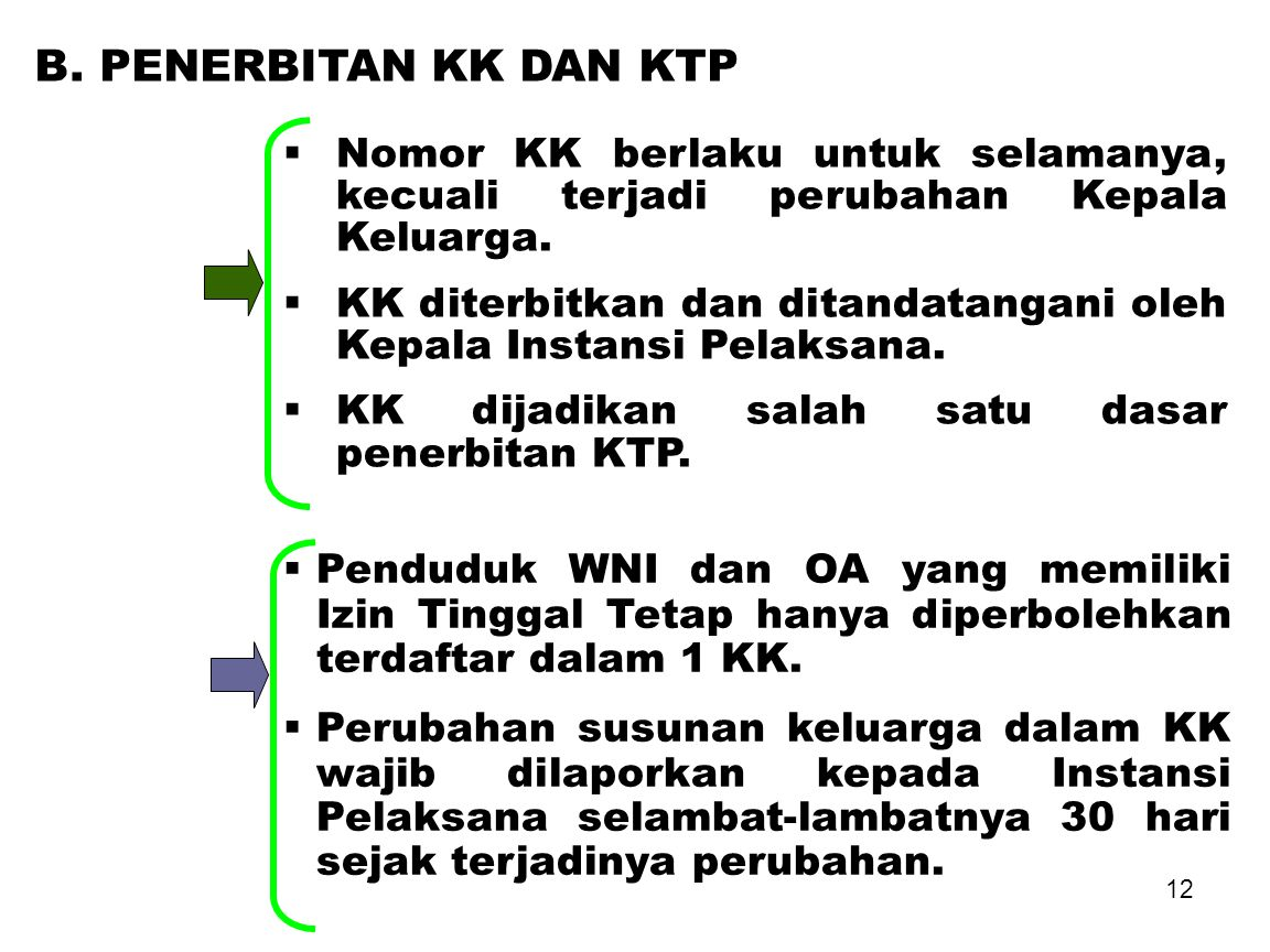 B. PENERBITAN KK DAN KTP Nomor KK berlaku untuk selamanya, kecuali terjadi perubahan Kepala Keluarga.