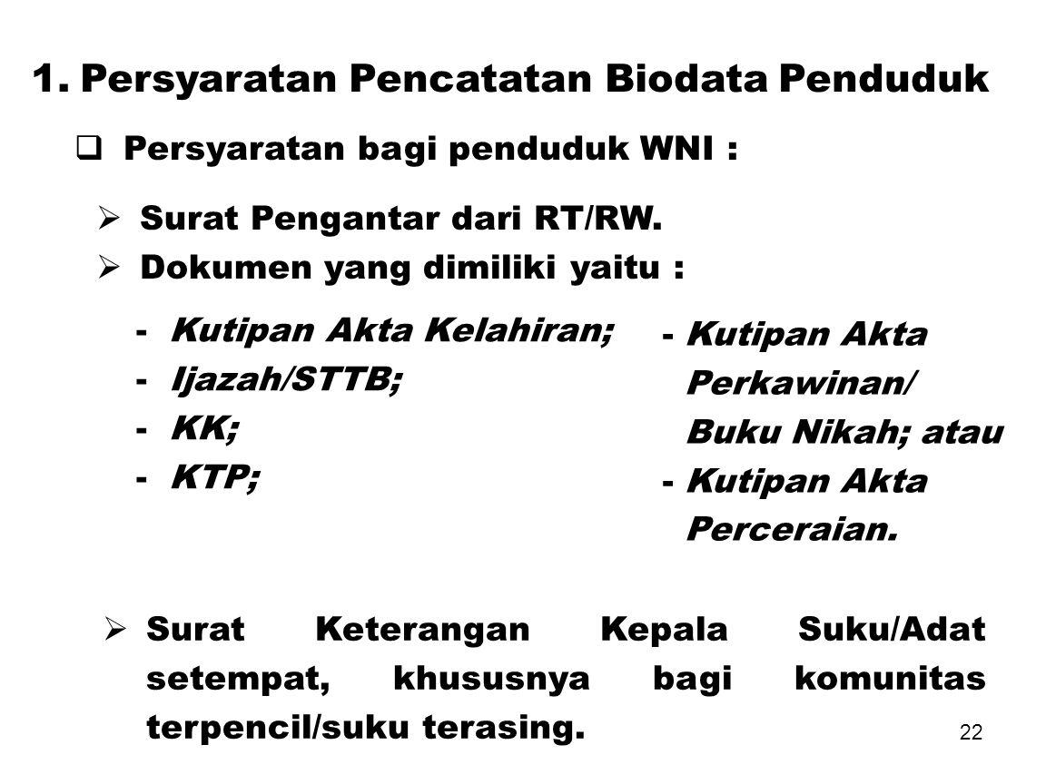1. Persyaratan Pencatatan Biodata Penduduk