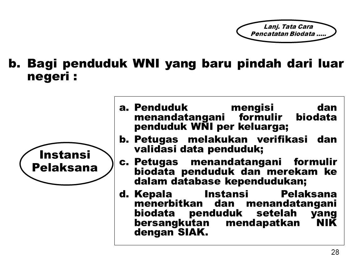 b. Bagi penduduk WNI yang baru pindah dari luar negeri :