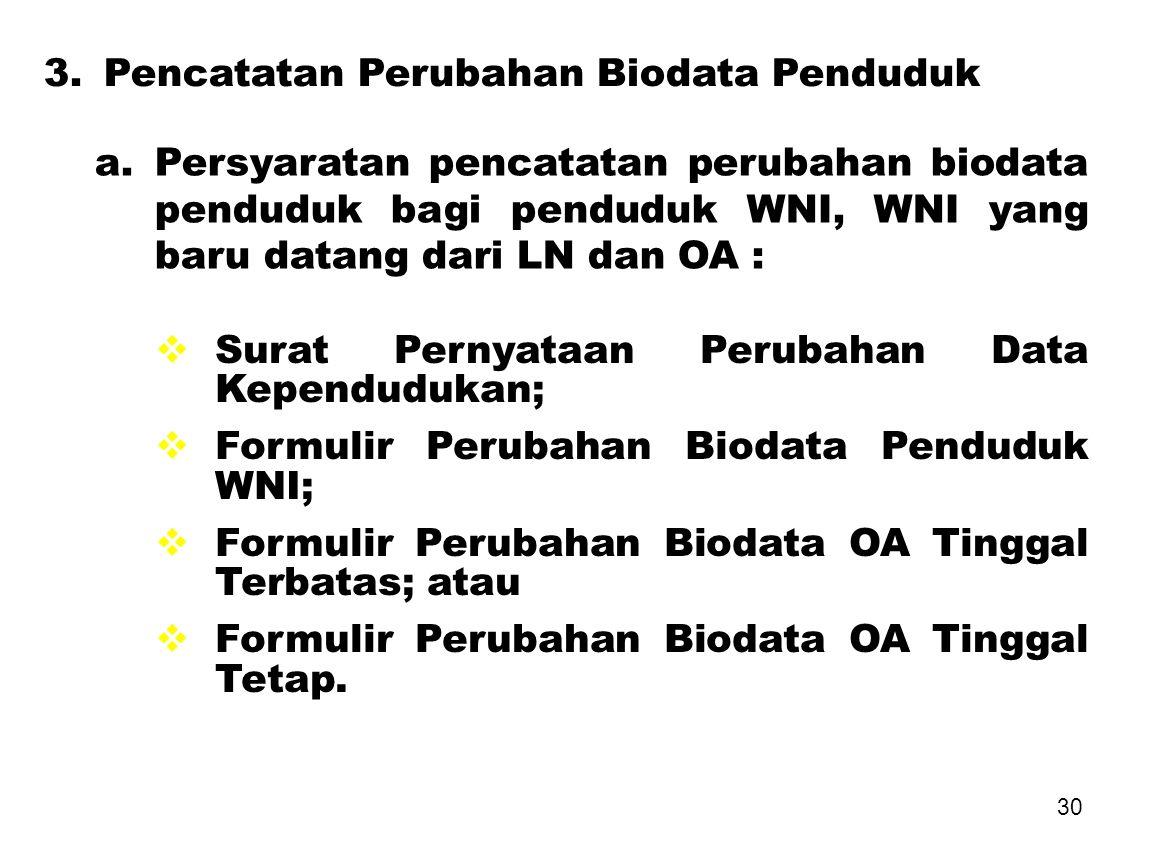 3. Pencatatan Perubahan Biodata Penduduk