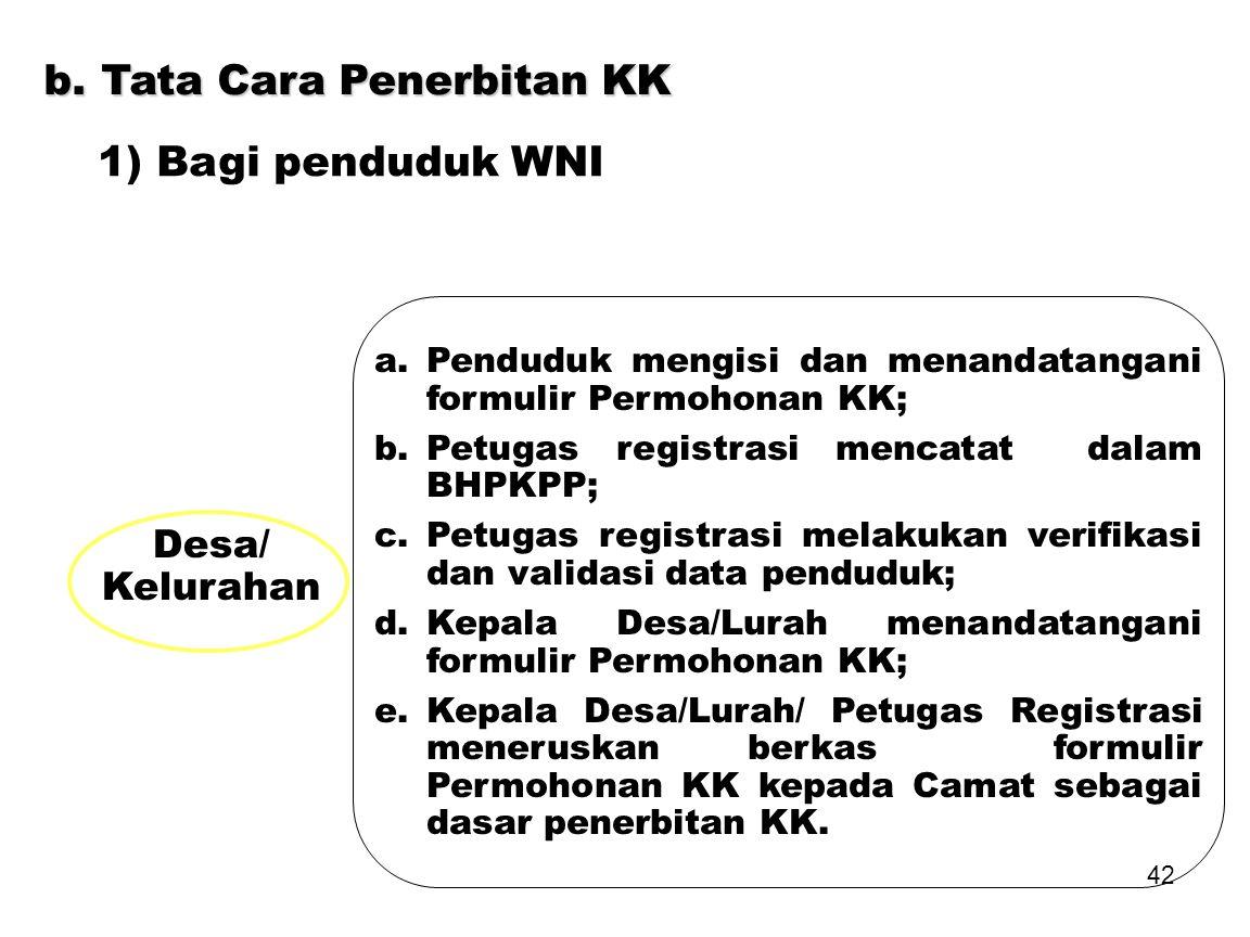 b. Tata Cara Penerbitan KK