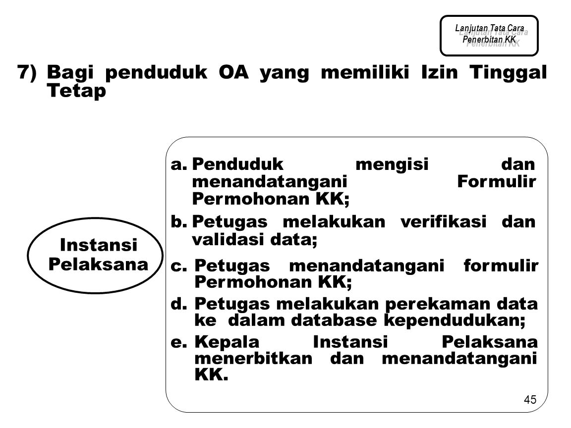 7) Bagi penduduk OA yang memiliki Izin Tinggal Tetap