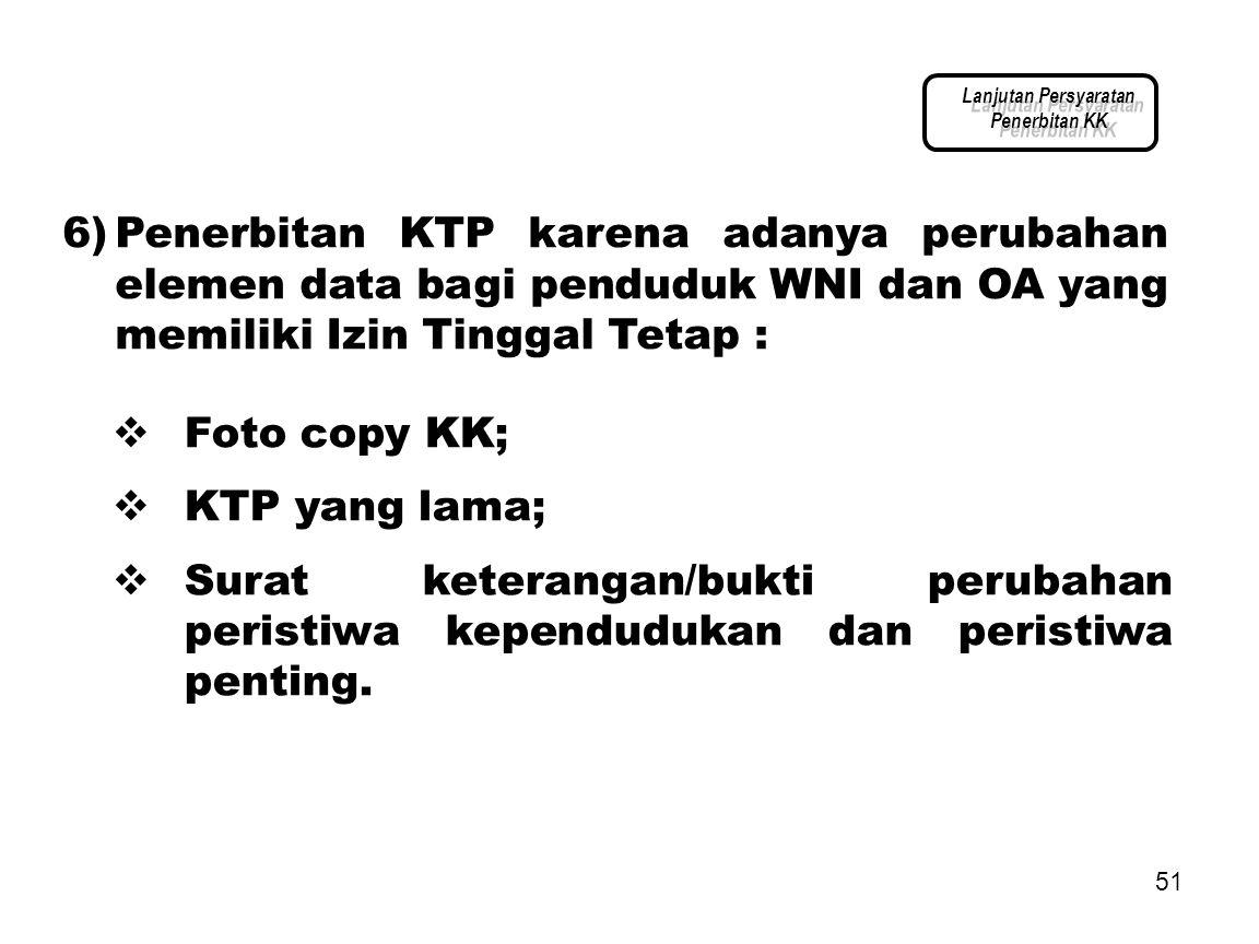 Lanjutan Persyaratan Penerbitan KK.
