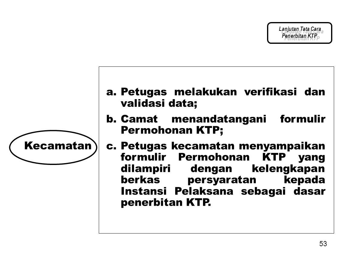 Kecamatan Petugas melakukan verifikasi dan validasi data;