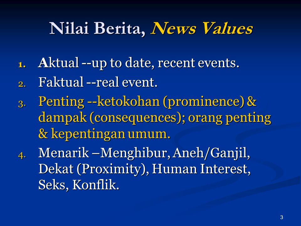 Nilai Berita, News Values