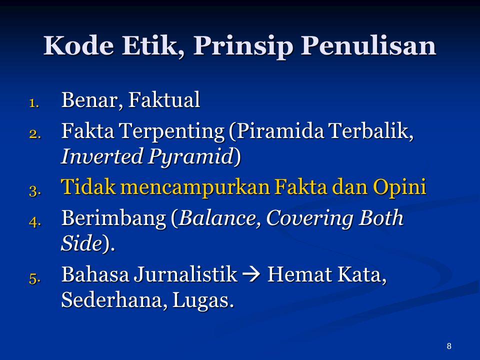 Kode Etik, Prinsip Penulisan