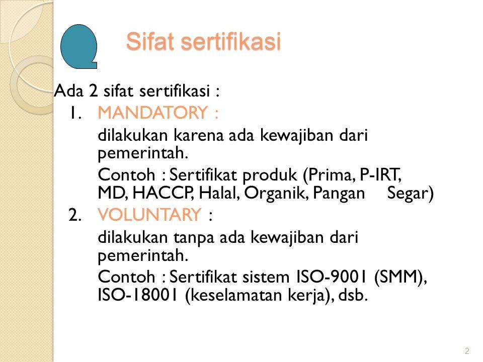 Sifat sertifikasi