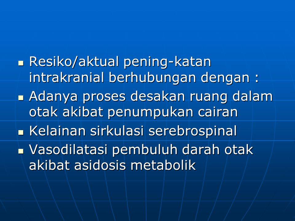 Resiko/aktual pening-katan intrakranial berhubungan dengan :