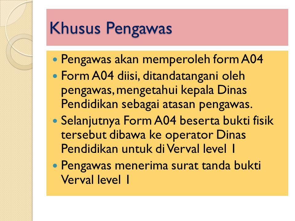 Khusus Pengawas Pengawas akan memperoleh form A04