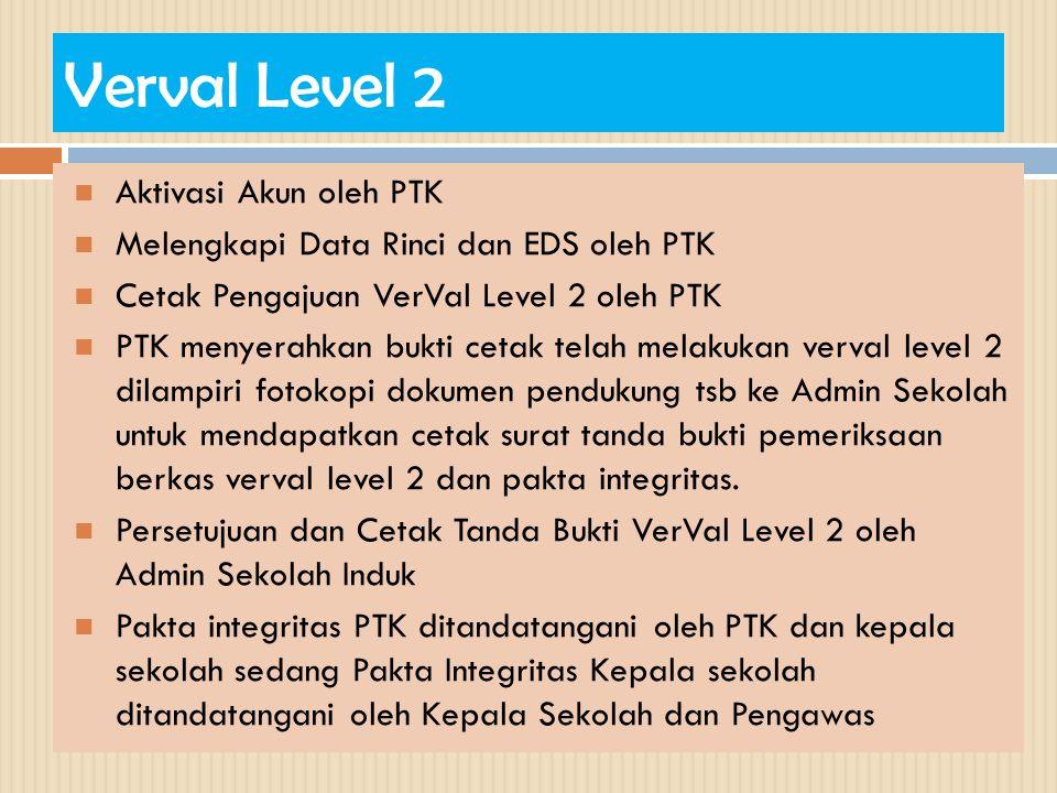 Verval Level 2 Aktivasi Akun oleh PTK