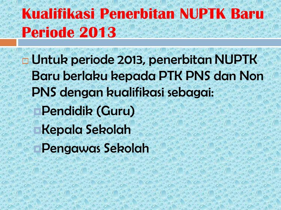 Kualifikasi Penerbitan NUPTK Baru Periode 2013