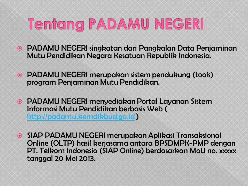 Tentang PADAMU NEGERI PADAMU NEGERI singkatan dari Pangkalan Data Penjaminan Mutu Pendidikan Negara Kesatuan Republik Indonesia.