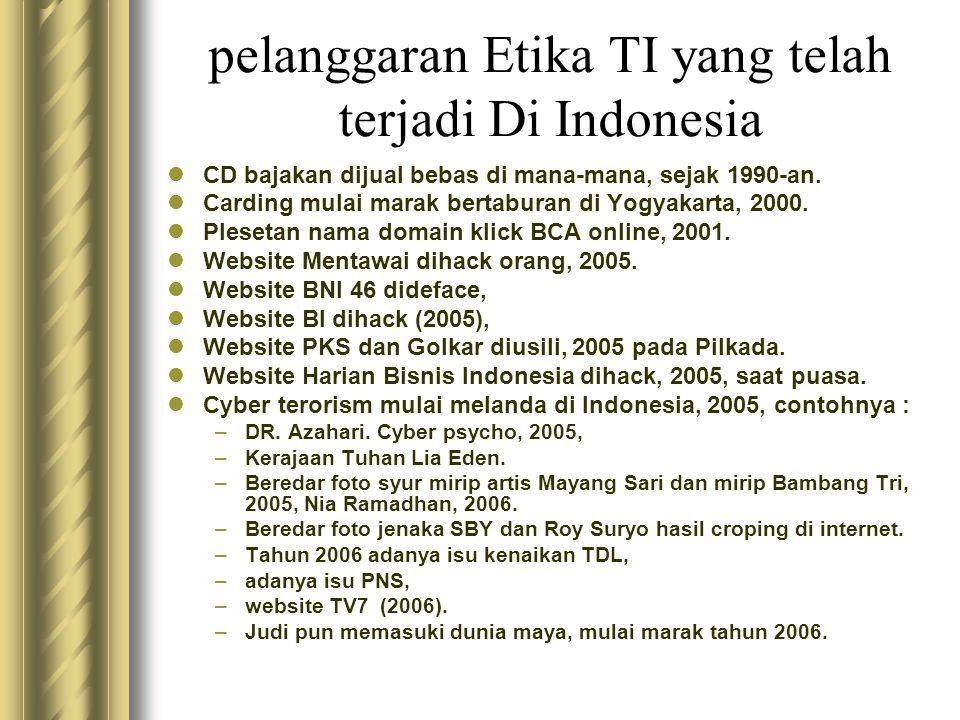 pelanggaran Etika TI yang telah terjadi Di Indonesia