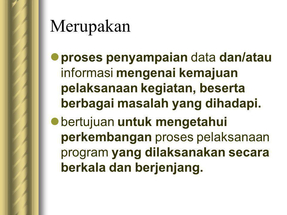 Merupakan proses penyampaian data dan/atau informasi mengenai kemajuan pelaksanaan kegiatan, beserta berbagai masalah yang dihadapi.