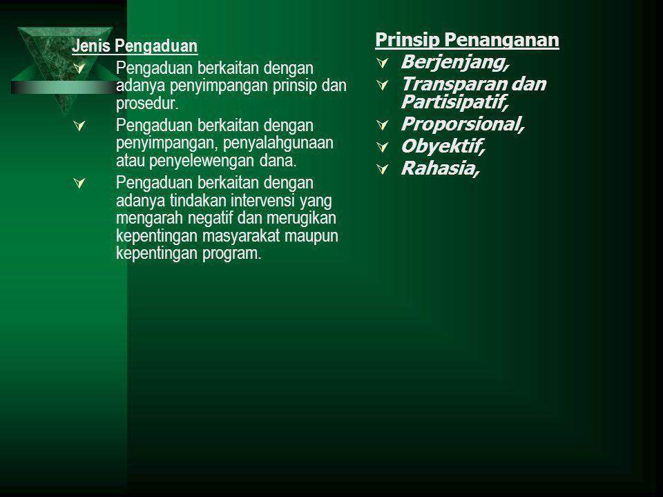 Prinsip Penanganan Berjenjang, Transparan dan Partisipatif, Proporsional, Obyektif, Rahasia, Jenis Pengaduan.