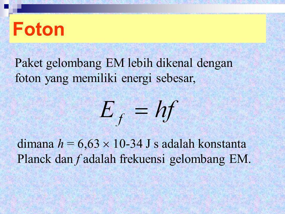 Foton Paket gelombang EM lebih dikenal dengan foton yang memiliki energi sebesar,