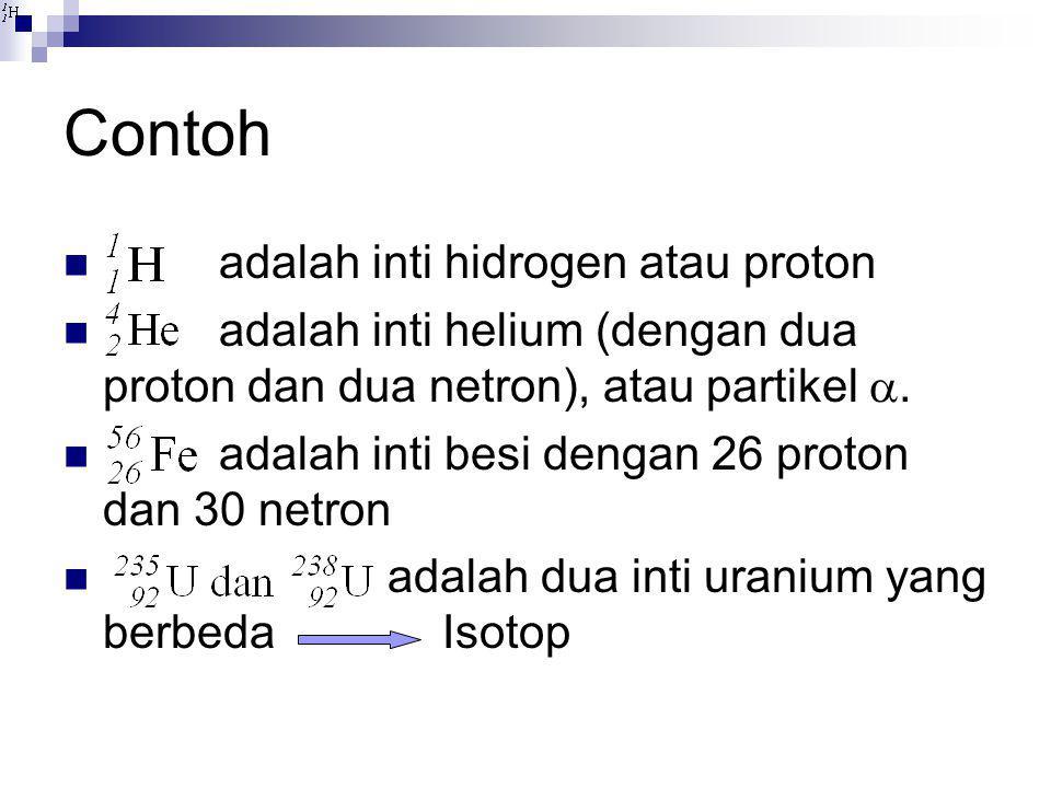 Contoh adalah inti hidrogen atau proton
