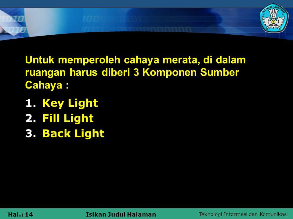 Untuk memperoleh cahaya merata, di dalam ruangan harus diberi 3 Komponen Sumber Cahaya :