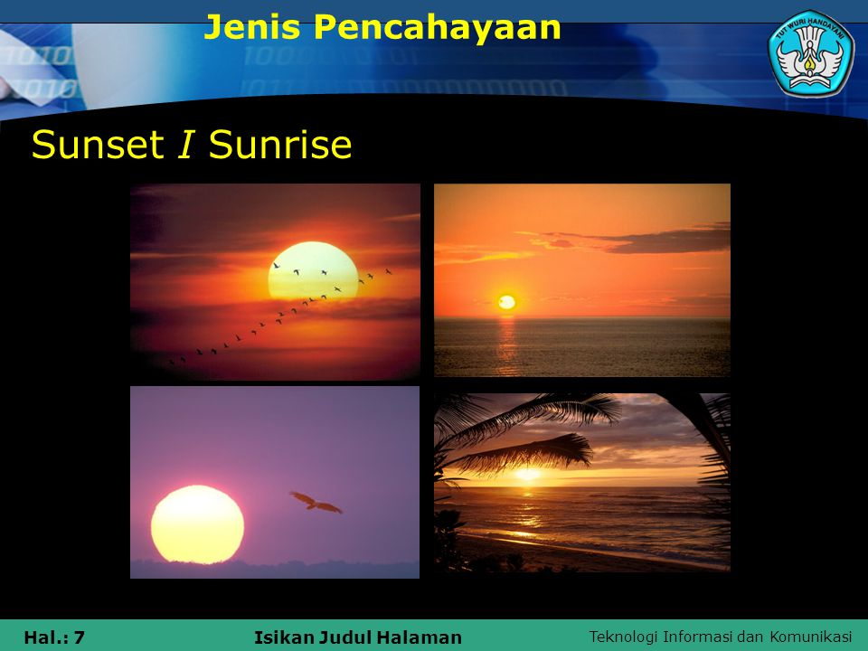 Jenis Pencahayaan Sunset I Sunrise