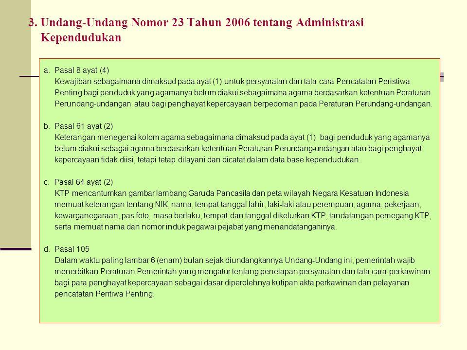 3. Undang-Undang Nomor 23 Tahun 2006 tentang Administrasi Kependudukan