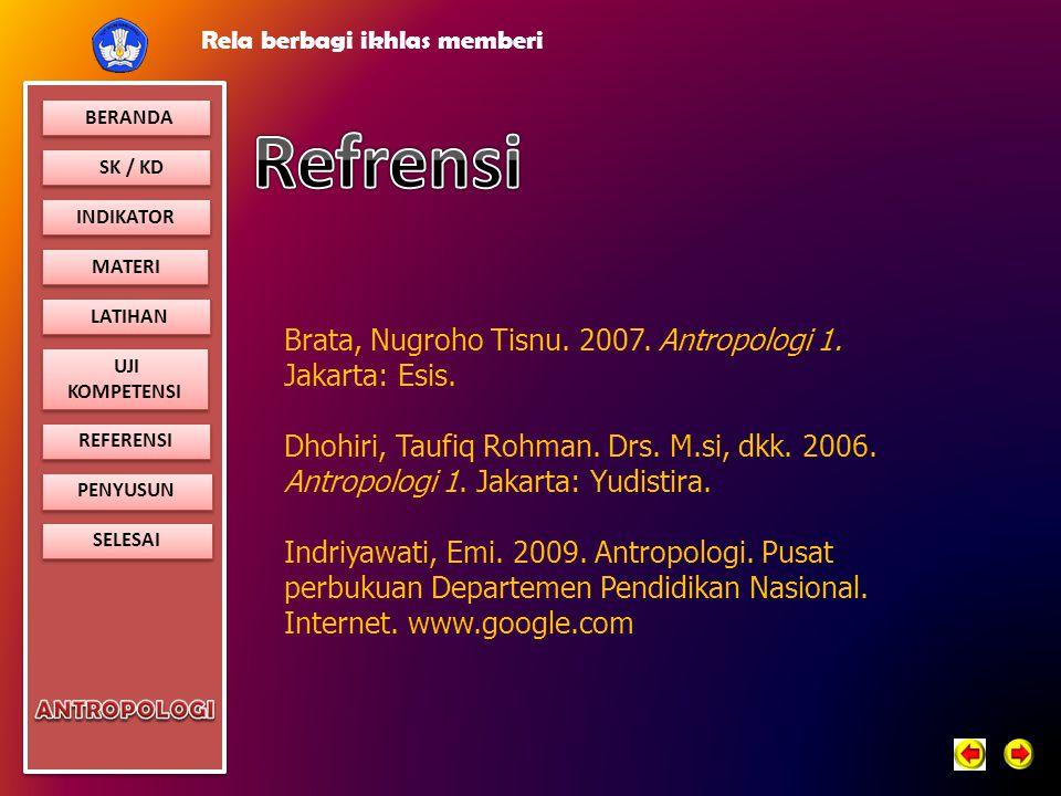 Refrensi Brata, Nugroho Tisnu. 2007. Antropologi 1. Jakarta: Esis.