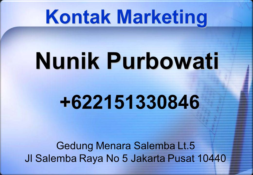 Nunik Purbowati +622151330846 Kontak Marketing