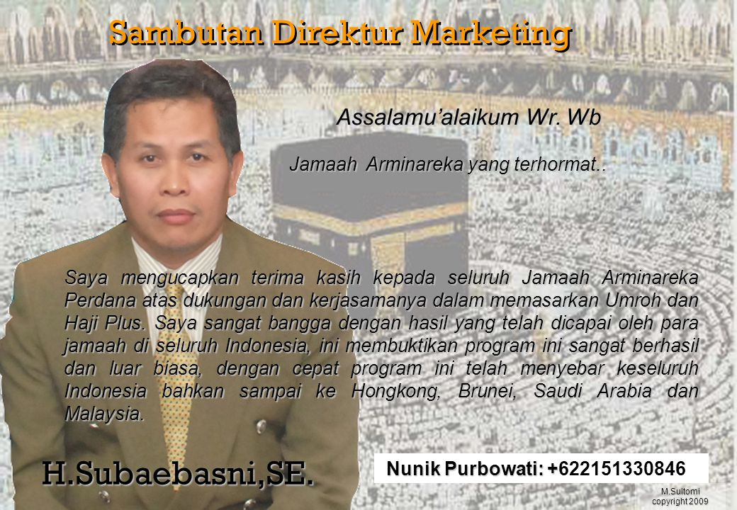 Sambutan Direktur Marketing